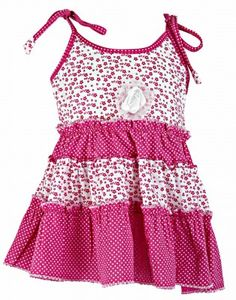 Charming ditsy print pink coloured frock with polka dotted tie in straps for your baby daughter.    http://www.babyoye.com/kilkari-girl-ditsy-print-tie-up-frock-pink-0-5-years.html