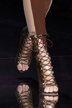 Brown lace-up sandals at Balmain spring '16.