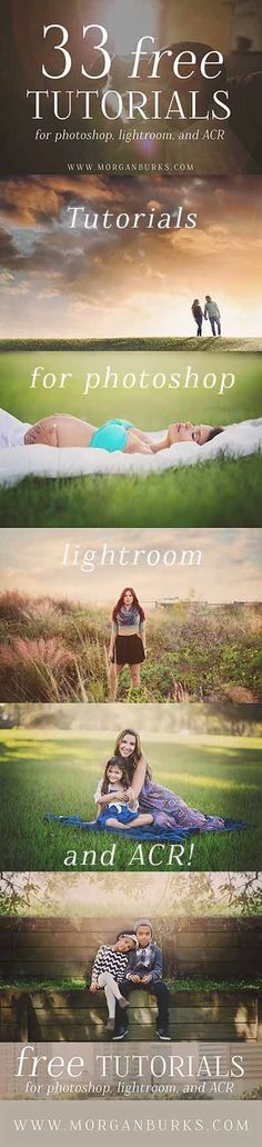 33 Free Tutorials for Photoshop, Lightroom and ACR! Photoshop tips. Photography Lessons, Photoshop Photography, Photography Editing, Photography Tutorials, Photography Business, Digital Photography, Photo Editing, Image Editing, Wedding Photography