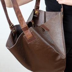 Brown leather hobo bag, Brown leather tote, Brown shoulder bag, Brown leather bag, by toyokobags on Etsy