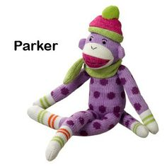 PARKER Purple Polka Dot Sock Monkey - Medium Size.  I WANT THIS!!!