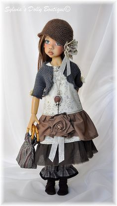 Hope in brown and grays - beautiful doll by Kaye Wiggs