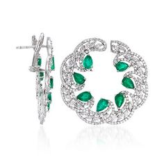 Ross-Simons - 5.00 ct. t.w. Emerald and 4.70 ct. t.w. Diamond Earrings in 18kt White Gold - #844166