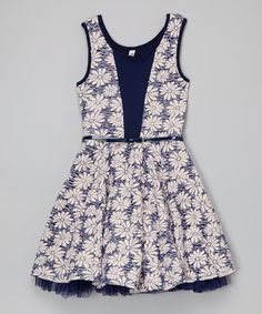 This Navy Daisy Belted Dress by Beautees is perfect! #zulilyfinds