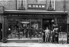 Mr H Shaw, who sells fishing tackle, has a giant stuffed fish in his window