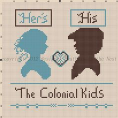 Colonial Kids silhouette free cross stitch pattern designed by Feathers in the Nest  copyright 2012