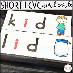 short vowel i picture word cards for pocket chart