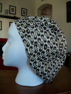 Black and Cream Teardrop Scrub Caps by fadendesignstudios on Etsy, $17.99