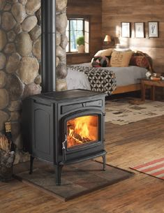 The affordably-priced Jotul's F 55 Carrabassett is a cast iron, front loading model with a generous, firebrick-lined firebox capable of handling wood up to a foot and a half long. The baffle and construction system carries a Limited Lifetime Warranty.