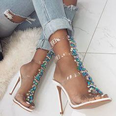 Gem-Embellished Clear Stiletto Lucia Heels