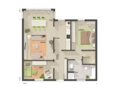 Grundriss Bungalow 3 Zimmer mit Keller - Town Country Haus Bungalow 78 Town Country Haus, Floor Plans, House, House Construction Plan, Modern Bungalow, Home, Homes, Floor Plan Drawing, Houses