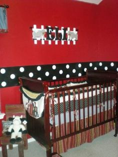 This might be a great way to paint an M nursery. Or maybe black on bottom, stripe of red w/ white dots, and then white on top? nursery-mickey-minnie