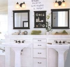 Ledge Above The Double Pedestal Sinks And Recessed Drawers