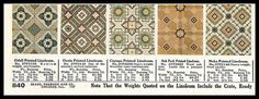 1916 Sears Linoleum, I love the middle and last ones Craftsman Homes, Craftsman Style, Linoleum Flooring, Floors, Vintage Decor, Vintage Antiques, Art Nouveau Interior, Tile Panels, Vintage Homes