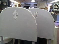 twin headboard made out of a French maple dining table. Home Bedroom, Girls Bedroom, Bedrooms, Twin Headboard, Headboard Ideas, Retreat House, Twin Beds, Diy Furniture Projects, Painted Furniture