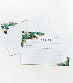Rifle paper recipe cards...