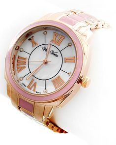 Rose Gold Tone Metal / Pink Epoxy / Lead&nickel Compliant / Stainless Steel Back / Water Resistant / Deployant Clasp / Watch