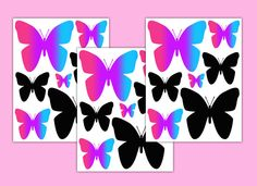 Butterfly Decals Wall Art Stickers Rainbow Hot Pink Turquoise Blue Teal Purple #decampstudios