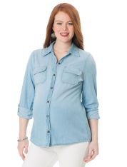 AG Jeans Convertible Sleeve Patch Pocket Maternity Shirt