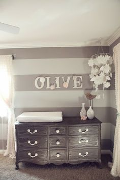 Grey & White Stripe Accent Wall