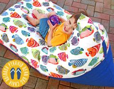 The classic bean bag chair has always been round, kind of like sinking into a giant squishy beachball. But if you wanted to make your own, it really demanded a pattern (a very large pattern) in order