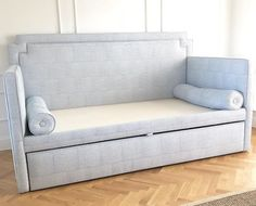 Custom CEH trundle bed in blue pattern fabric https://www.instagram.com/theceh/