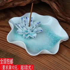 Online Shop Personalized fashion ashtray with king decoration lotus incense burner incense holder hong plate unique gift ashtray Ceramic Clay, Ceramic Pottery, Diy Candles With Flowers, Diy Flowers, Ceramic Incense Holder, Diy Incense Holder, Deco Zen, Ceramic Flowers, Dry Clay