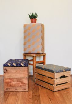 Upcycled Wine box Ottoman Fool stool/ storage box by MadeanewShop