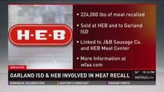 3 Texas firms, including H-E-B, recall over 320,000 lbs. of meat