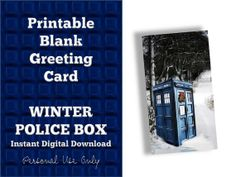 PRINTABLE Greeting Card, Police Box Snowy Winter Holiday Christmas Card, Digital Download, PDF Blank Card
