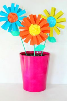 Colorful Cardboard Tube Flowers   Fun Family Crafts Easy Crafts For Kids, Summer Crafts, Diy For Kids, Fun Crafts, Older Kids Crafts, Colorful Crafts, Colorful Flowers, Flower Making Crafts, Flower Crafts