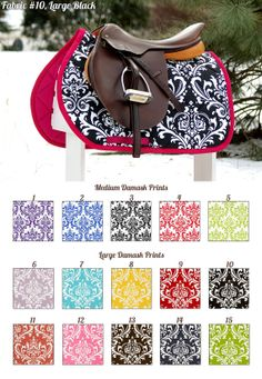 MADE TO ORDER Damask Print Saddle Pad Many Colors by PaddedPonies, $68.00