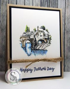 Crafter's Companion: Happy Father's Day! - created with 'The Elvet Bridge, Durham' stamp (US only) - colored with @spectrumnoir #pencils Blues: 69. 70, 75, 73  Greens: 47, 58  Grays: 120, 119, 117, 112  Browns: 109, 110  Other: 001, 004