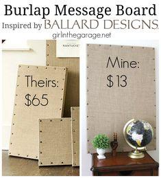 DIY: Burlap Message Board Inspired by Ballard Designs Burlap Projects, Burlap Crafts, Diy Projects To Try, Crafts To Make, Craft Projects, Craft Ideas, Diy Inspiration, Ballard Designs, Crafty Craft
