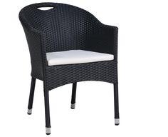 "Geflecht Sessel ""Cardiff"" schwarz inkl. Kissen"