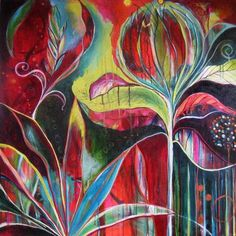 Andrea Henning painting - love the colours! Abstract Flowers, Abstract Art, Flora Bowley, Wow Art, Arte Floral, Art Journal Pages, Acrylic Art, Oeuvre D'art, Painting Inspiration