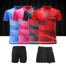 Adsmoney men/women Badminton shirt shorts polo collar badminton golf men's t-shirt table tennis clothes shirt skirt(China)