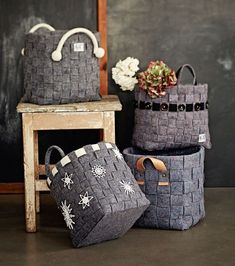 Knit Basket, Felt Diy, Hamper, Straw Bag, Diy And Crafts, Upcycle, Recycling, Projects To Try, Knitting