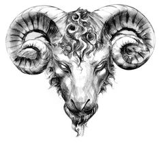 Aries Taurus Tattoo of Ram Head, Big Bull Horns | Just Free Image Download