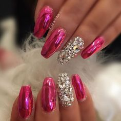 pink chrome. I'd do silver chrome or glitter on the accent nail