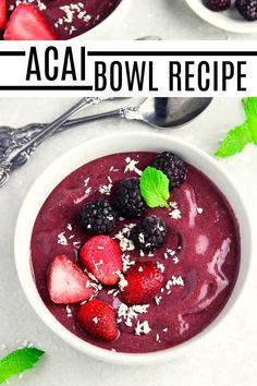 Enjoy a light and refreshing bowl of nutritious Acai smoothie for breakfast! It's the perfect dish to jump-start your day with its antioxidants, omegas, friendly fiber, and heart-healthy fats content. #healthyfood #breakfast #vegansmoothie Acai Smoothie, Smoothie Bowl, Acai Berry Bowl, Chia Seed Coconut Milk, Vegan Recipes Plant Based, Snack Recipes, Snacks, Crab Cakes, Cooking