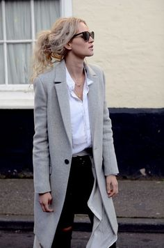 gray wool winter coat with a white crisp button down shirt