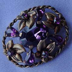 Vintage Amethyst Glass Stone Floral Brooch