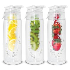 Infusion Drink Bottle - Unique bottle that has an internal diffusion cartridge for sliced fruit to provide infused water flavouring or can be filled with ice cubes to keep water cool for longer. Optional gift box available.