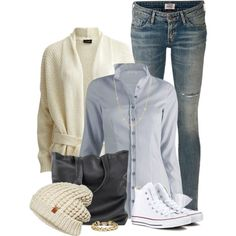 Classy in Converse by ginga1203 on Polyvore featuring moda, VILA, Citizens of Humanity, Converse, BCBGMAXAZRIA, David Yurman, ONLY, women's clothing, women's fashion and women