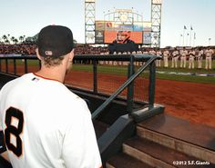 Hunter Pence waits for his name to be called during starting lineup intros Game 1
