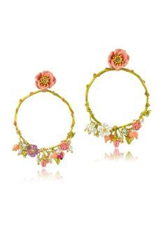 Les Nereides Tits and Flower Large Hoop Earrings