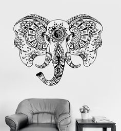 Vinyl Wall Decal Elephant Head Animal Tribal Ornament Stickers Unique Gift 11 in X in / Black Wall Stickers Birds, Vinyl Wall Decals, Elefante Hindu, Elephant Head, Tribal Elephant Drawing, Elephant Drawings, Elephant Tattoos, Elephant Design, Animal Decor