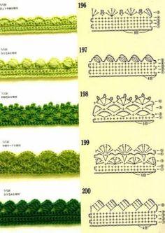 Crochet Borders crochet edging / borders (finish scarf with from bottom? Crochet Border Patterns, Crochet Blanket Border, Crochet Boarders, Crochet Lace Edging, Crochet Diagram, Crochet Chart, Easy Crochet, Knit Crochet, Crochet Edgings