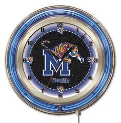 University of Memphis Tigers Logo Neon Wall Clock